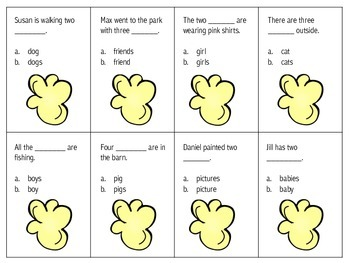 Popcorn Plurals {Regular and Irregular Plural Nouns}
