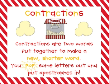 Popcorn! Popcorn! {Contractions} Word Work