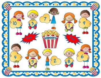Popcorn Pops - A Before and After Number Game & 4 Activities