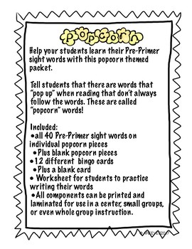 Popcorn Pre-Primer Packet
