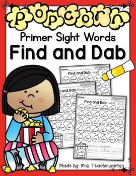 Popcorn Primer Sight Word Find and Dab