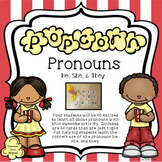 Popcorn Pronouns Card Game - 60 Subject Pronoun Cards for He, She, and They