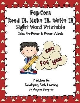 Popcorn Read It, Make It, Write It - Sight Word Printable