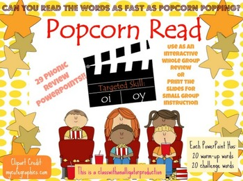 Popcorn Reads: Interactive Phonics Review Powerpoints