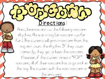 Popcorn Rhythm Game- dotted eighth sixteenth (FREEBIE)