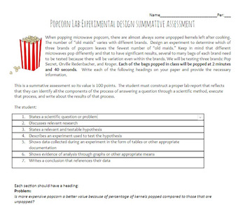 Popcorn Scientific Method Summative Lab