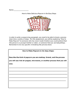 Popcorn Sequencing Paragraph