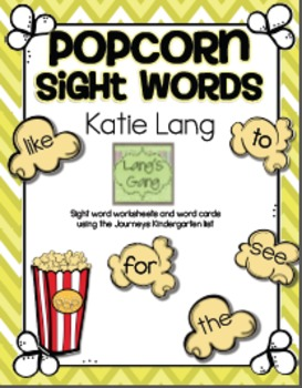 Kindergarten list-Popcorn Sight Word Activities