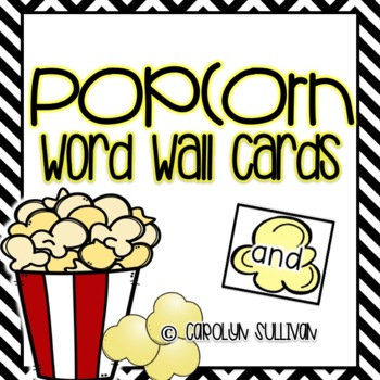 Popcorn Sight Word Cards- Word Wall Cards