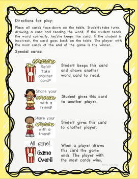 Popcorn Sight Word Game