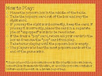 Popcorn Sight Word Game - Kindergarten