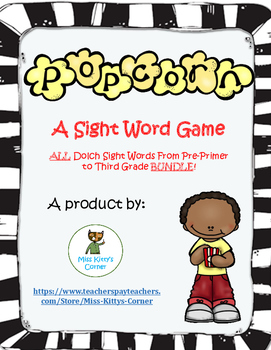 Popcorn Sight Word Game - Primer Dolch List 1