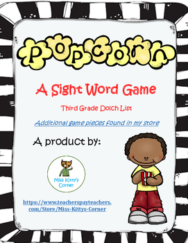 Popcorn Sight Word Game - Third Grade Dolch List