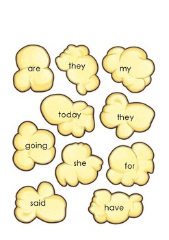 Popcorn Sight Word Playing Cards
