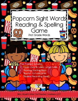 Popcorn Sight Word Reading and Spelling Game-- First Grade