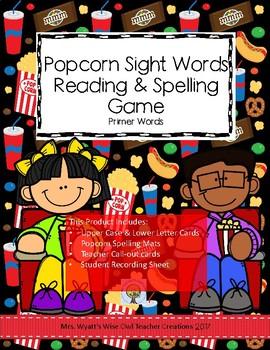 Popcorn Sight Word Reading and Spelling Game-- Primer