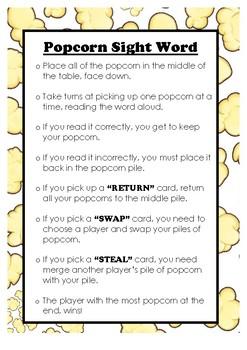Popcorn Sight Word Rules