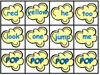 Popcorn Sight Words Dolch Word List 1