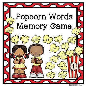 Popcorn Sight Words Memory Game