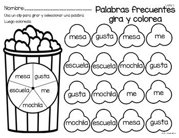 Gira y colorea-Spin and Color-SPANISH RESOURCE
