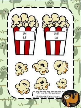 Popcorn Sorting Game gender in French nouns