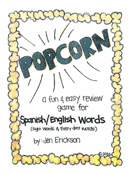 Popcorn!  Spanish/English Words