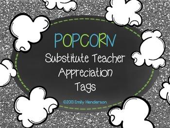 Popcorn Substitute Appreciation Tags