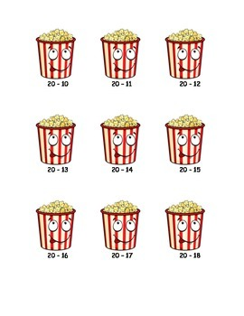 Popcorn Subtraction Math Game