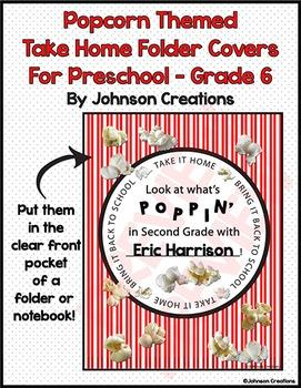 Popcorn Take Home Folder Covers