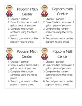 Popcorn Themed Adding, Subtracting and Comparing Center