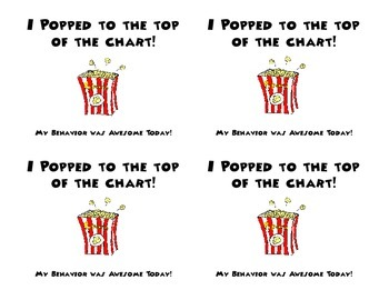 Popcorn Themed Behavior Chart