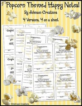 Popcorn Themed Happy Notes