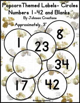 Popcorn Themed Labels- Circles