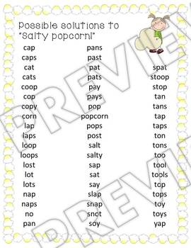 Popcorn Themed Making Words Activity