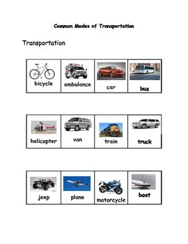 Popcorn Vocabulary Interactive Notebook Lesson on Transportation