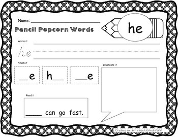 Popcorn Word BUNDLE - Kindergarten