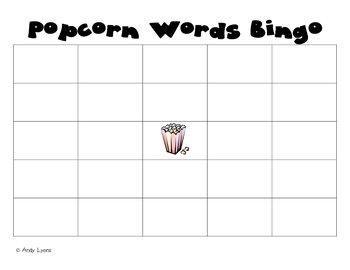 Popcorn Word Bingo Board