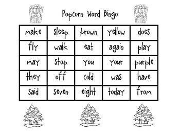 Popcorn Word Bingo Set 3