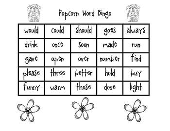 Popcorn Word Bingo Set 5