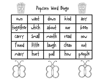 Popcorn Word Bingo Set 6