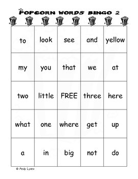 Popcorn Word Bingo (Sight Words)