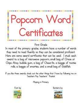 Popcorn Word Certificates - First Grade