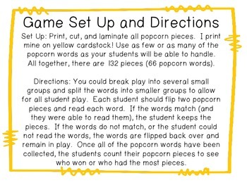 Popcorn Word Match Up!
