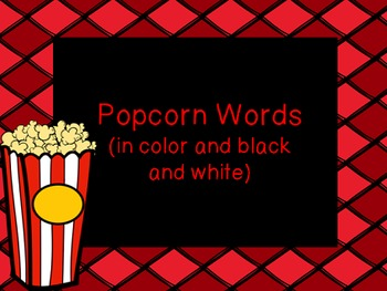 Popcorn Word Posters in Color and Black & White