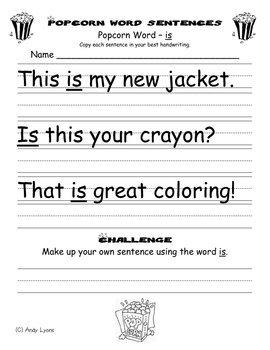 Popcorn Word Sentence Handwriting Practice by Andy Lyons ...