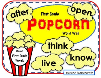 Popcorn Word Wall - FIRST GRADE Dolch Words Set