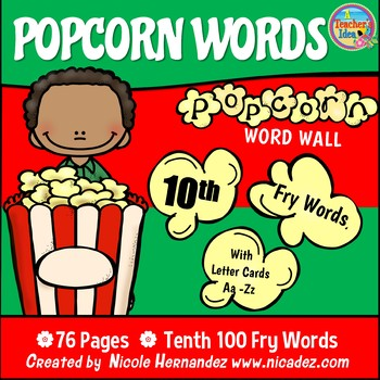 Popcorn Word Wall - (Fry's 10th 100 Sight Words) With Alphabet Labels