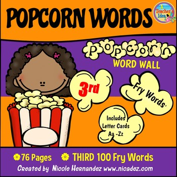 Popcorn Word Wall - (Fry's 3rd 100 Sight Words) With Alphabet Labels