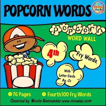 Popcorn Word Wall - (Fry's 4th 100 Sight Words) With Alphabet Labels