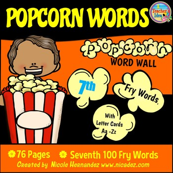 Popcorn Word Wall - (Fry's 7th 100 Sight Words) With Alphabet Labels